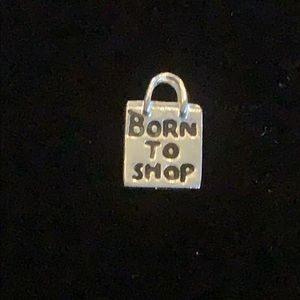 Sterling 'BORN TO SHOP' Charm